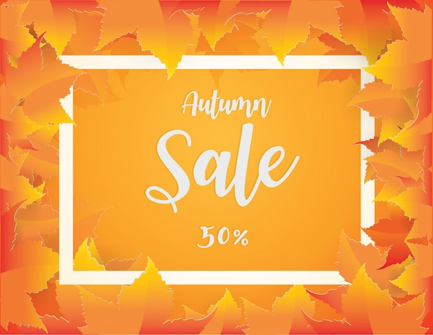 赤、オレンジ、茶色、黄色の秋と秋の販売バナーデザインは、背景を残します。 Premiumベクター