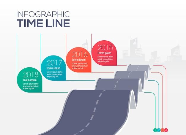 インフォグラフィックタイムライン、凹凸道路コンセプトイラスト Premiumベクター