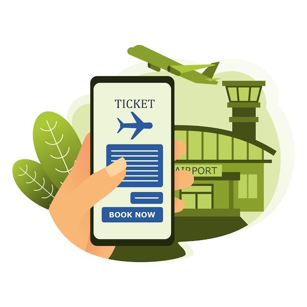 空港と航空機の背景を持つスマートフォンで航空券を予約する Premiumベクター