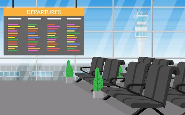 Пейзажный вид внутри терминала аэропорта Premium векторы