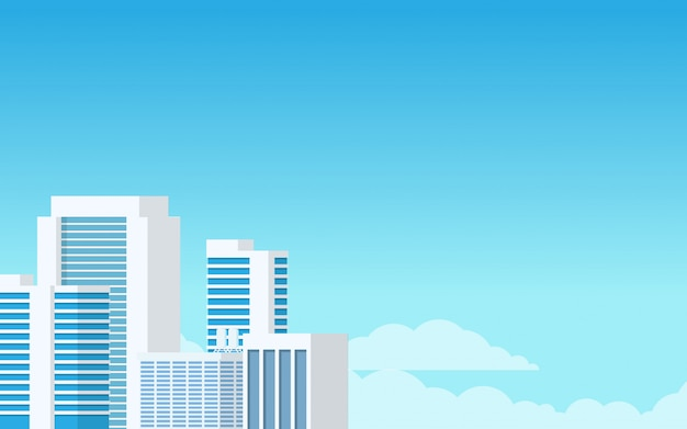 水色の最小限のモダンなトーンのシティタワーの建物の風景を見る Premiumベクター