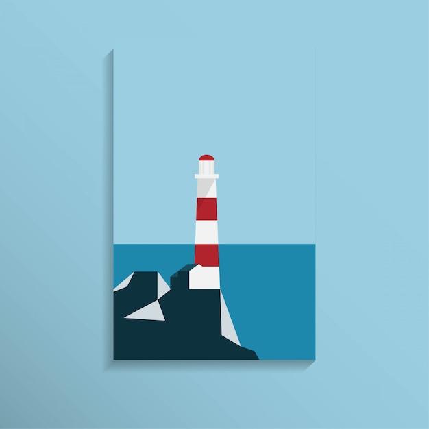 Маяк на берегу моря с горным хребтом в прозрачном синем цвете Premium векторы
