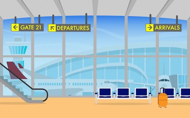 Терминал аэропорта с самолетом в фоновом режиме Premium векторы