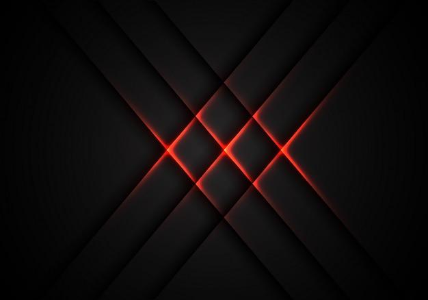 灰色の技術の背景に赤の光クロスパターン。 Premiumベクター
