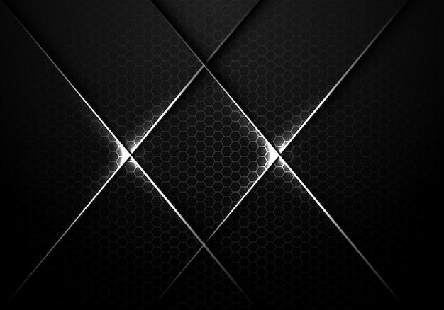 銀色の線は、暗い六角形のメッシュバックグラウンドでクロスします。 Premiumベクター