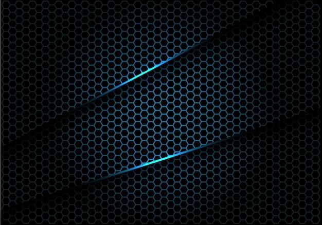 青い六角形メッシュは、黒の高級背景に重なっています。 Premiumベクター