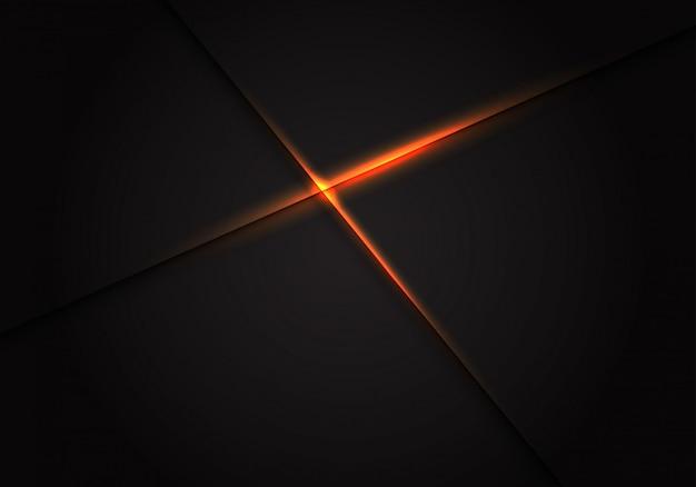 オレンジ色の光が暗い空白スペースの背景にクロスします。 Premiumベクター