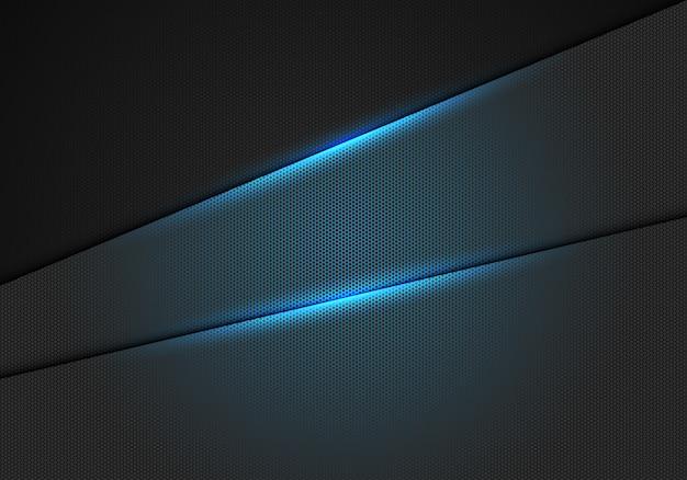 金属の六角形メッシュパターン背景に青い光の効果 Premiumベクター