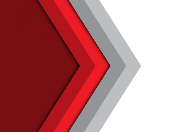 赤灰色の矢印方向の背景を分離しました。 Premiumベクター