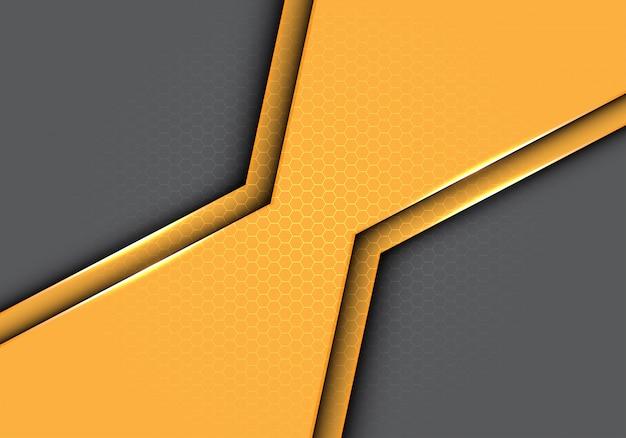 六角形の黄色の多角形金属メッシュパターンの灰色の背景。 Premiumベクター