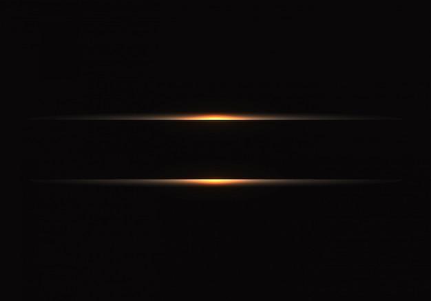 黒地に金の光のライン。 Premiumベクター