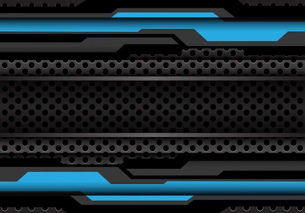 サークルメッシュの背景に青の暗い灰色のポリゴンサイバー。 Premiumベクター