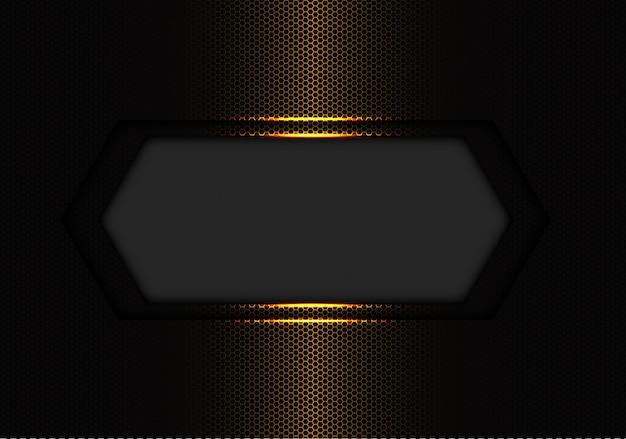 Абстрактный темно-серый баннер пустое пространство золото с шестигранной сетки. Premium векторы