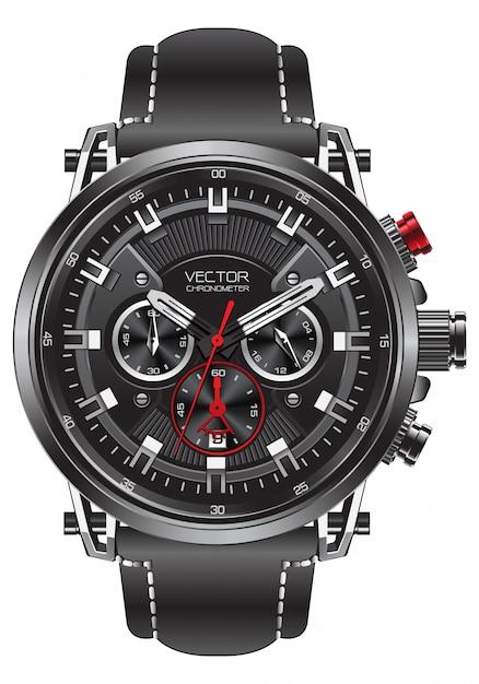 現実的な時計時計スポーツクロノグラフ黒赤鋼 Premiumベクター