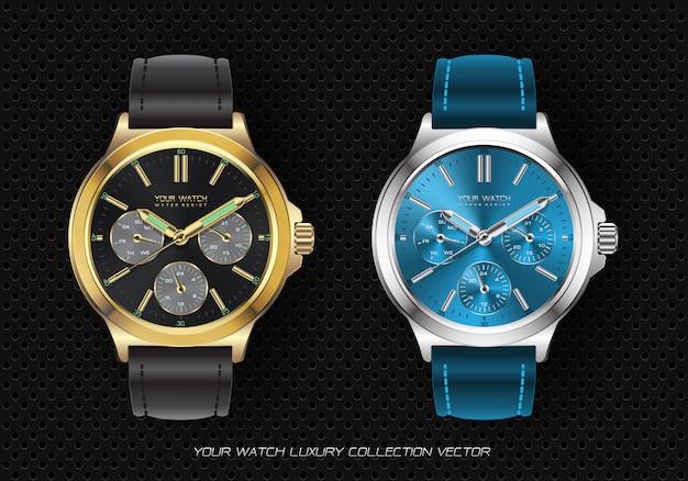 リアルな時計ウォッチクロノグラフコレクション Premiumベクター