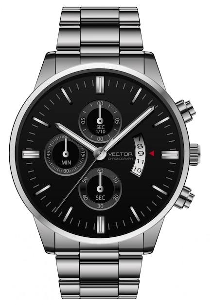 現実的な時計はステンレス鋼の黒い顔の贅沢を見る Premiumベクター
