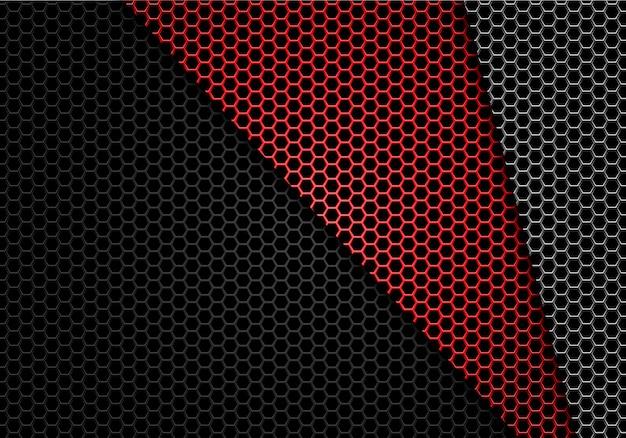 Красная серая черная предпосылка картины сетки шестиугольника металлическая. Premium векторы
