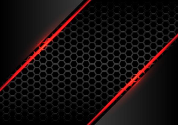 Красная линия огонь свет с серым металлик шестиугольника сетки фон. Premium векторы