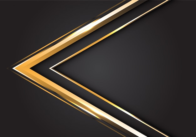 灰色の背景にモダンで豪華な未来的な金の矢印の方向。 Premiumベクター