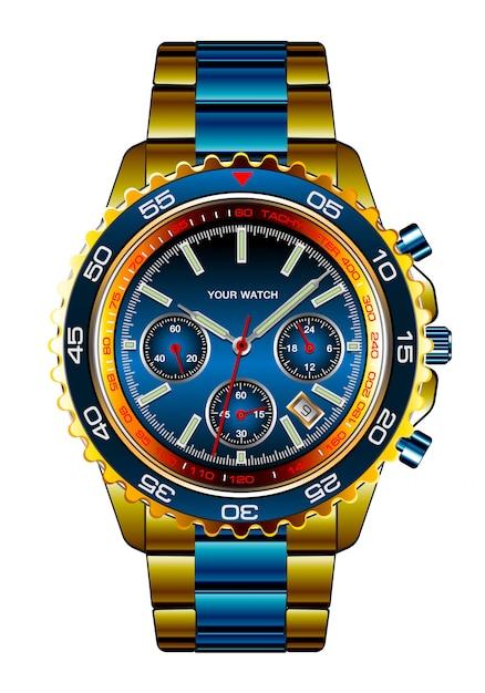 現実的な腕時計クロノグラフゴールドブルーメタリック高級ホワイト Premiumベクター