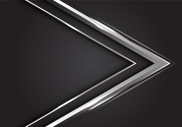 灰色の背景モダンで豪華な未来的な銀の矢印の方向。 Premiumベクター