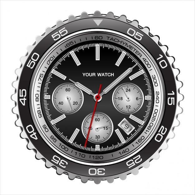 現実的な腕時計の顔ブラックスチールクロノグラフ高級ホワイト Premiumベクター
