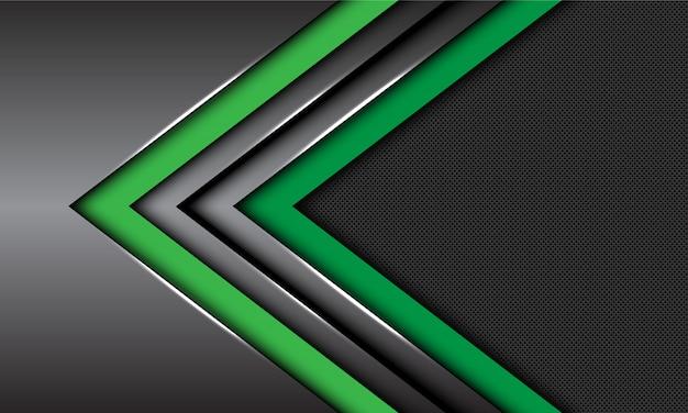 Двойной зеленый темно-серый металлик стрелка направление круг сетки футуристический фон. Premium векторы
