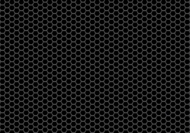 抽象的な黒い六角形のメッシュパターンの背景。 Premiumベクター