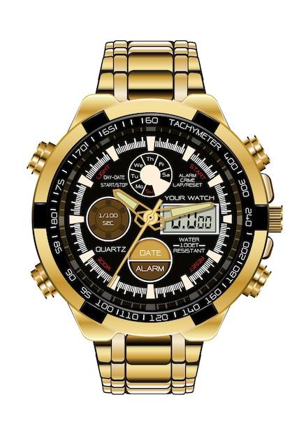 現実的な時計クロノグラフ時計ゴールドブラック。 Premiumベクター
