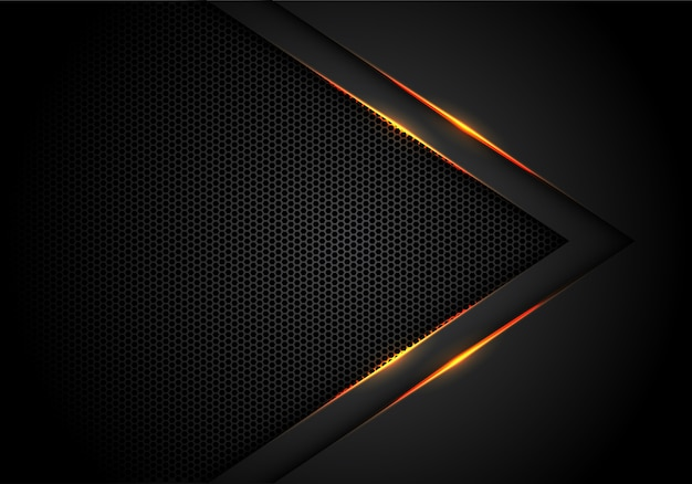 六角形のメッシュの背景と黒の黄色のライトの矢印。 Premiumベクター