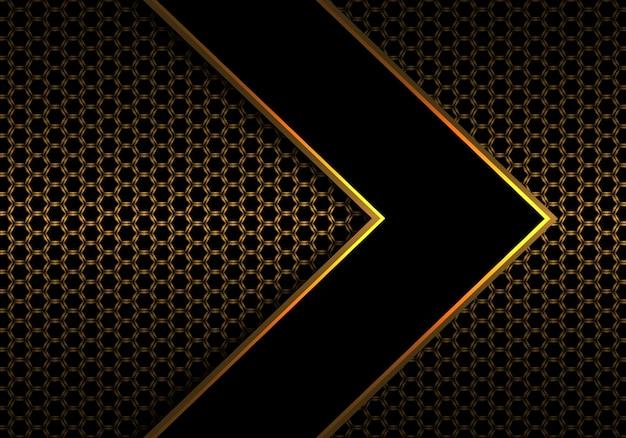 六角形のメッシュパターン上に黒い矢印の金の線。 Premiumベクター