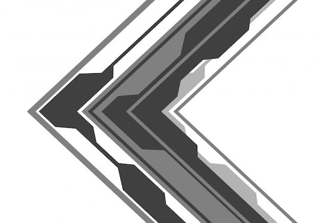 白い背景にグレーの矢印の回路方向。 Premiumベクター
