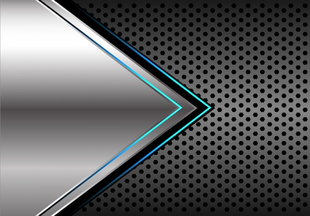Серебристый синий свет стрелка темно серый круг сетки фон. Premium векторы