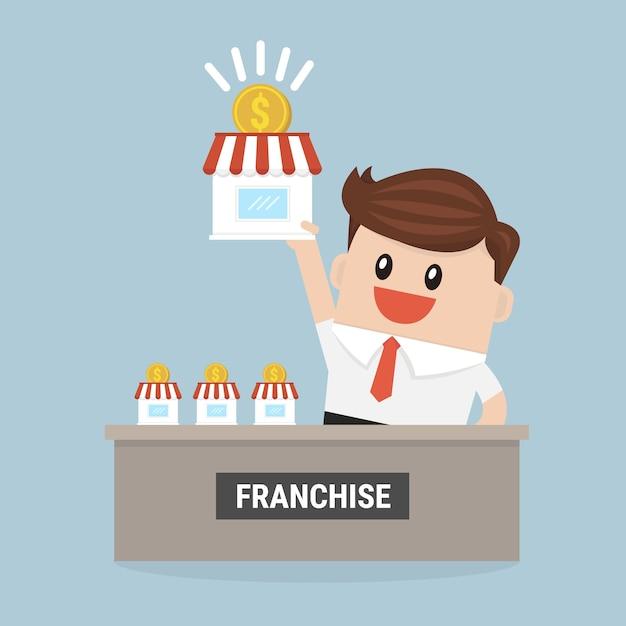 Бизнесмен хочет расширить свою франшизу. Premium векторы