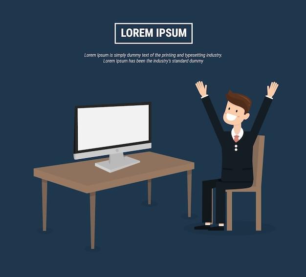 ビジネスマンはモニターの封筒でコンピュータの前に座っています。 Premiumベクター