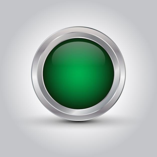 緑の光沢のあるウェブボタンまたはシャドウ付きの背景 Premiumベクター