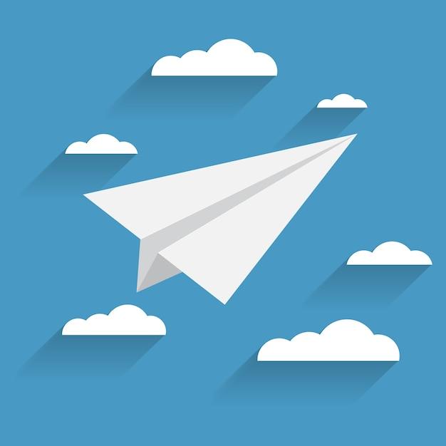 Плоский самолет и облака значок на синем фоне Premium векторы