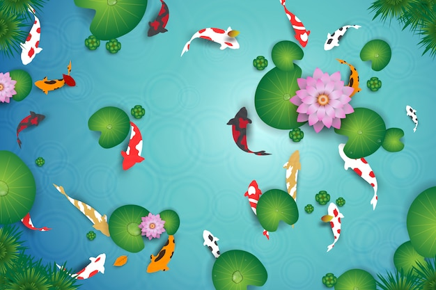 鯉魚ときれいな水の湖の平面図です。 Premiumベクター