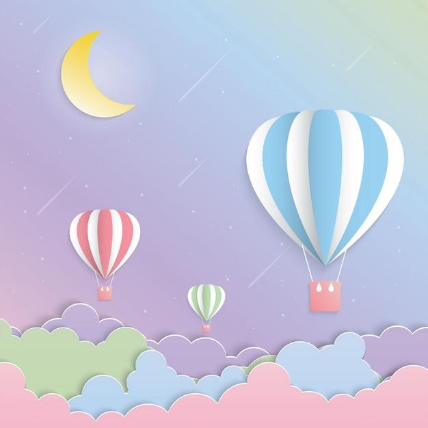 カラフルな風船と月の紙 Premiumベクター
