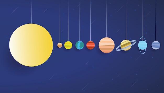 太陽系紙アートベクトル Premiumベクター