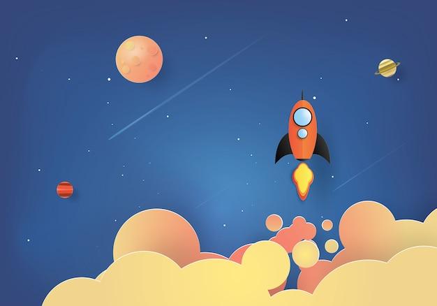 ロケット打ち上げ、スタートアップのコンセプト Premiumベクター