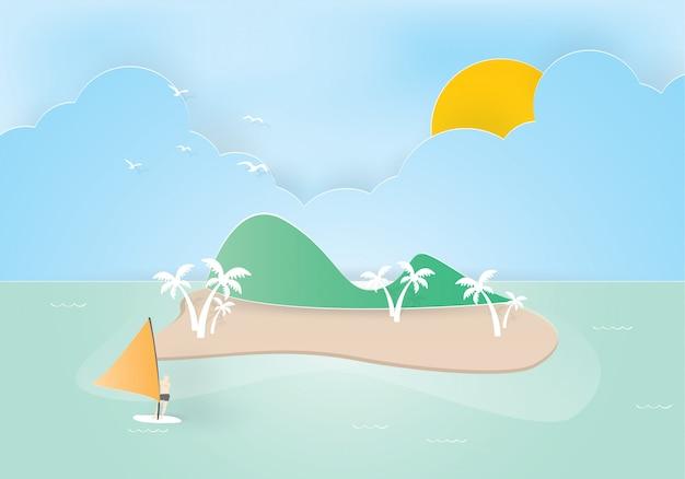 Тропический остров с пальмами. горы, синий океан и человек на виндсерфинге Premium векторы