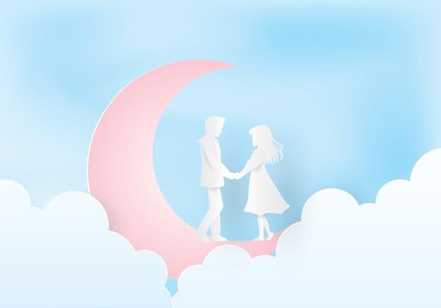 Пара держится за руки под луной Premium векторы