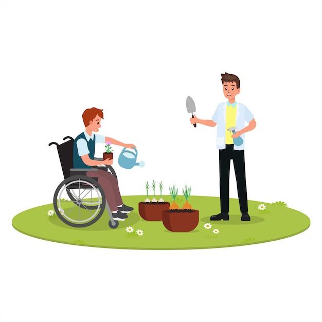 障害者リハビリテーションセッションにおける作業療法 Premiumベクター
