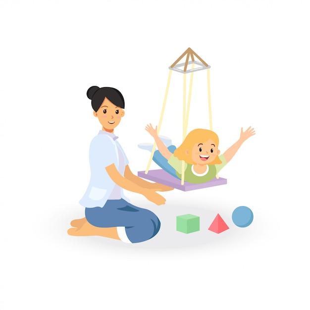 Сеанс лечения трудотерапии для скрининга развития ребенка Premium векторы