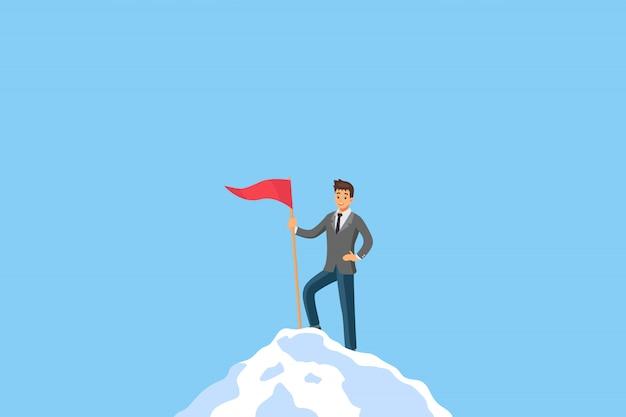 Руководство бизнесмена успеха стоя на вершине горы Premium векторы