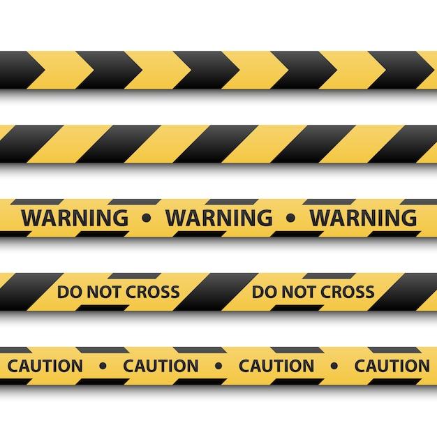 Предупреждающий знак, желтая и черная полоса ленты Premium векторы