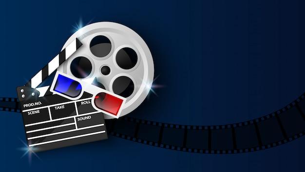 青のクラッパーボードとフィルムリール Premiumベクター