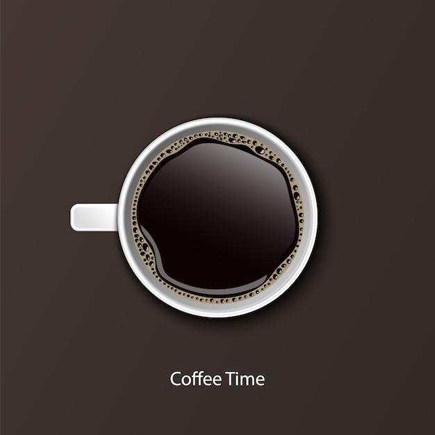 Кофе в белых чашках вид сверху Premium векторы