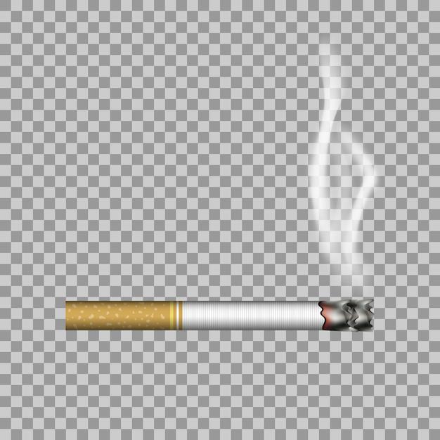 Реалистичная сигарета и дым Premium векторы